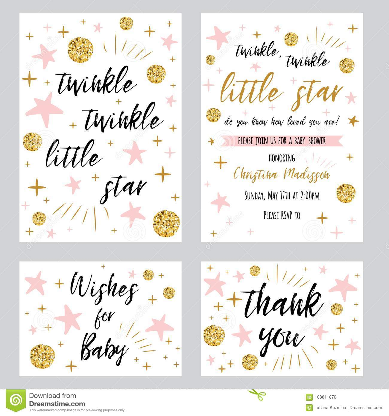 Baby Shower Girl Templates Twinkle Twinkle Little Star Text With