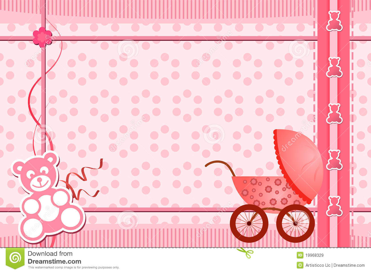 Baby Shower Greeting Card Stock Vector Illustration Of Girl 19968329