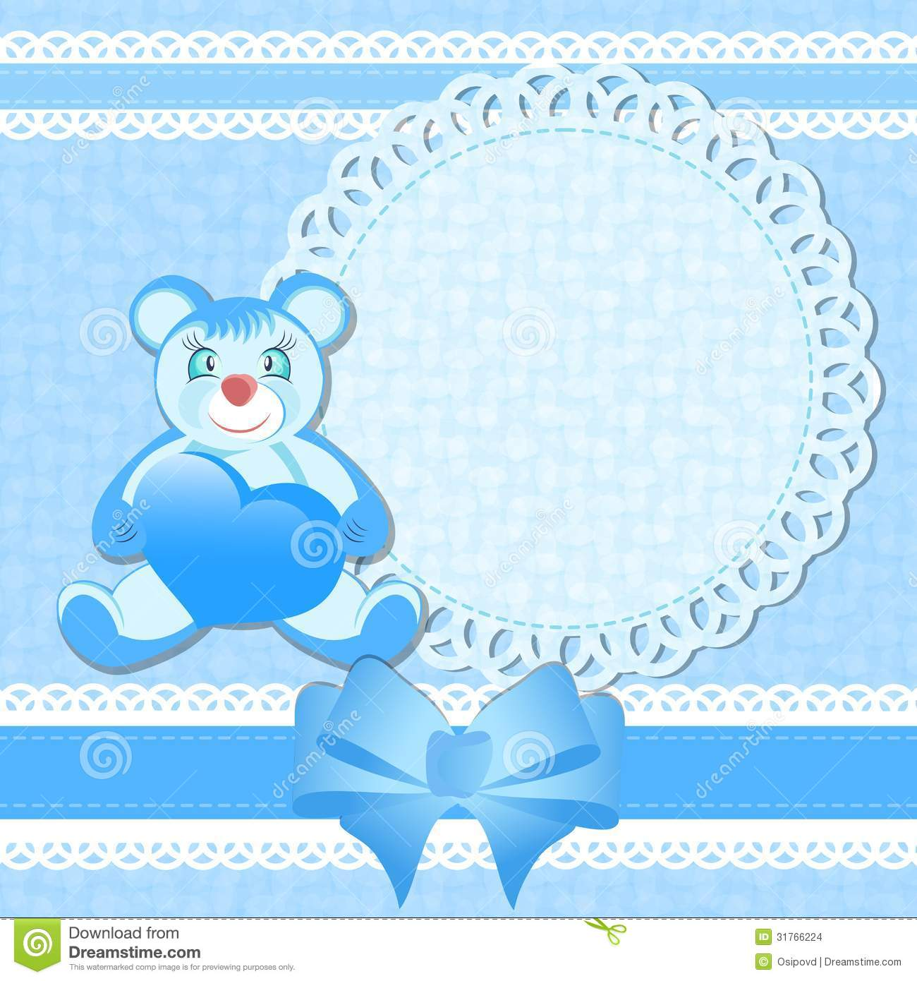 Baby Shower Greeting Card For Baby Boy Stock Vector Illustration