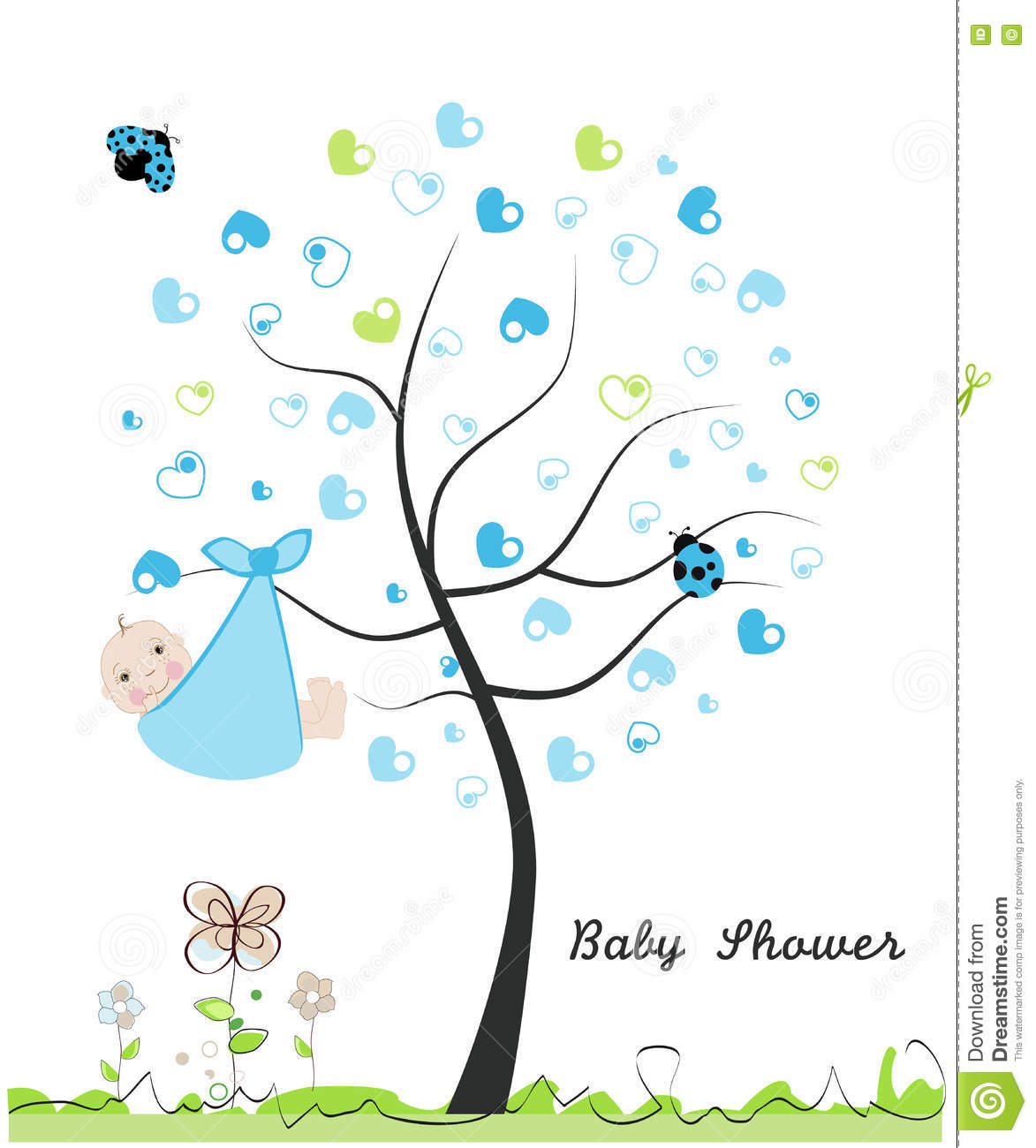 Baby Boy Card Doodle Flowers Greeting Heart Illustration Ladybird Made  Shower ...