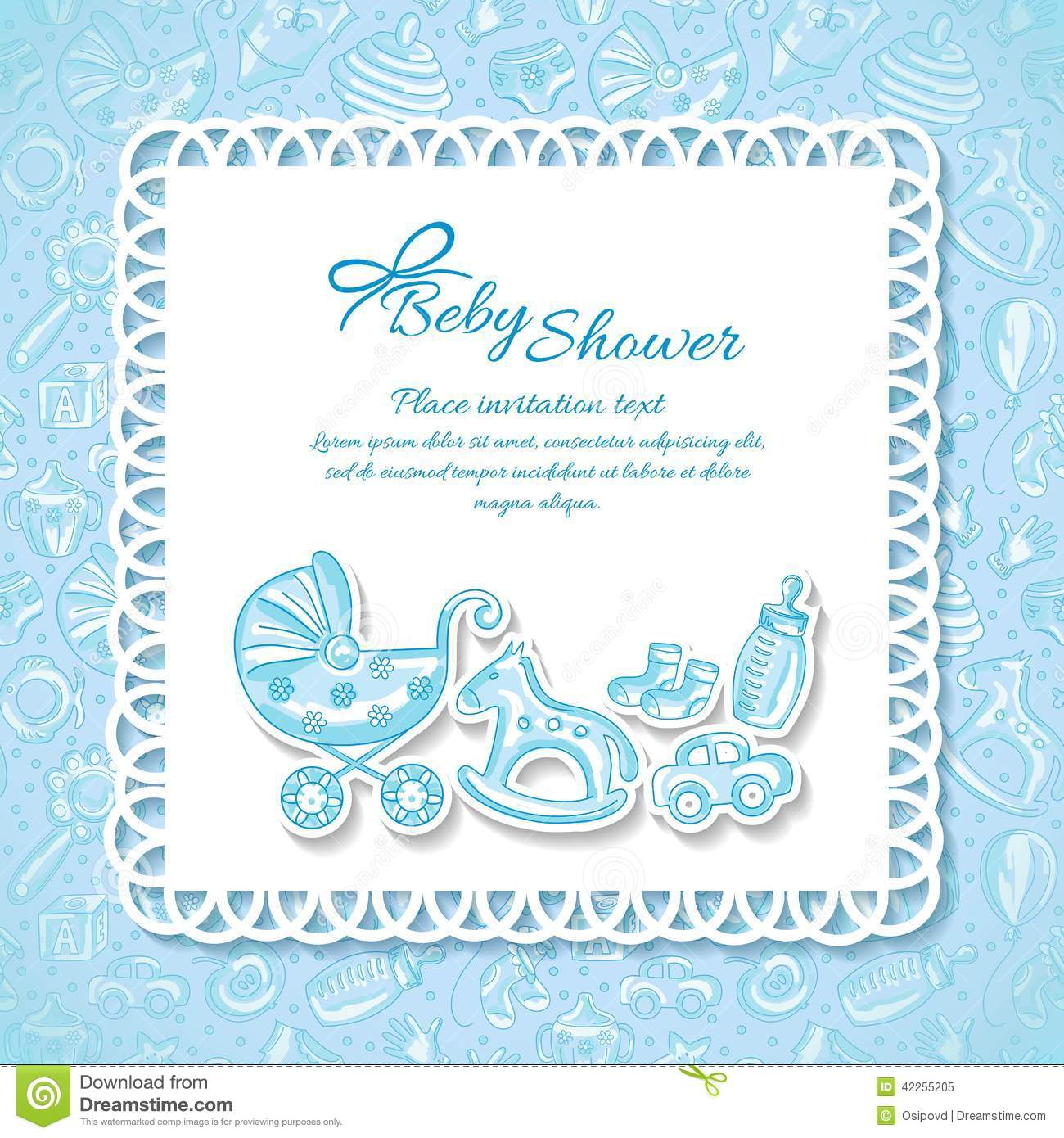 Baby shower greeting card for baby boy stock vector illustration baby shower greeting card for baby boy m4hsunfo