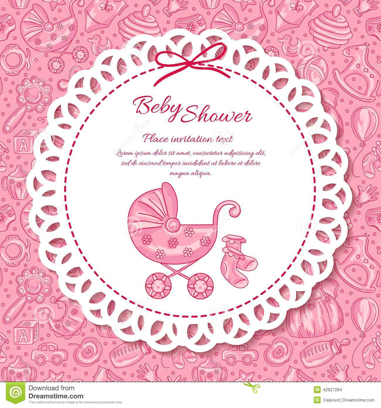 Baby Shower Greeting Card For Baby Girl Stock Vector Illustration