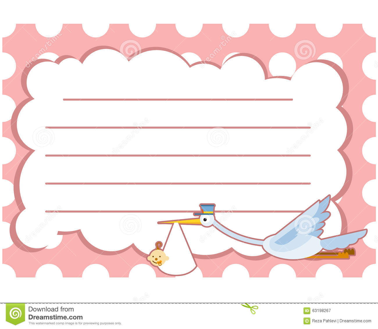baby shower greeting card crane with line pink stock