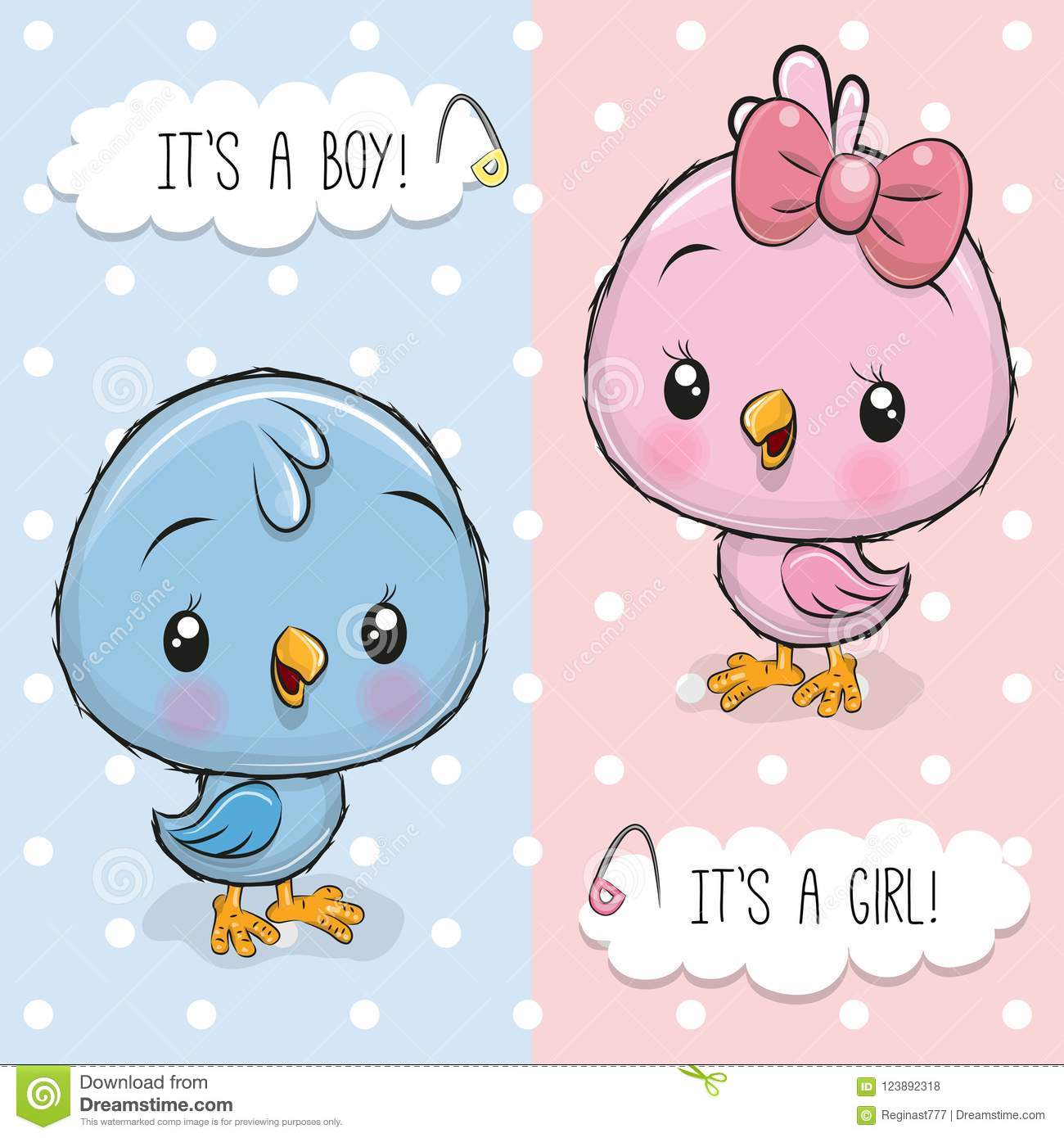 Baby Shower greeting card with Birds boy and girl