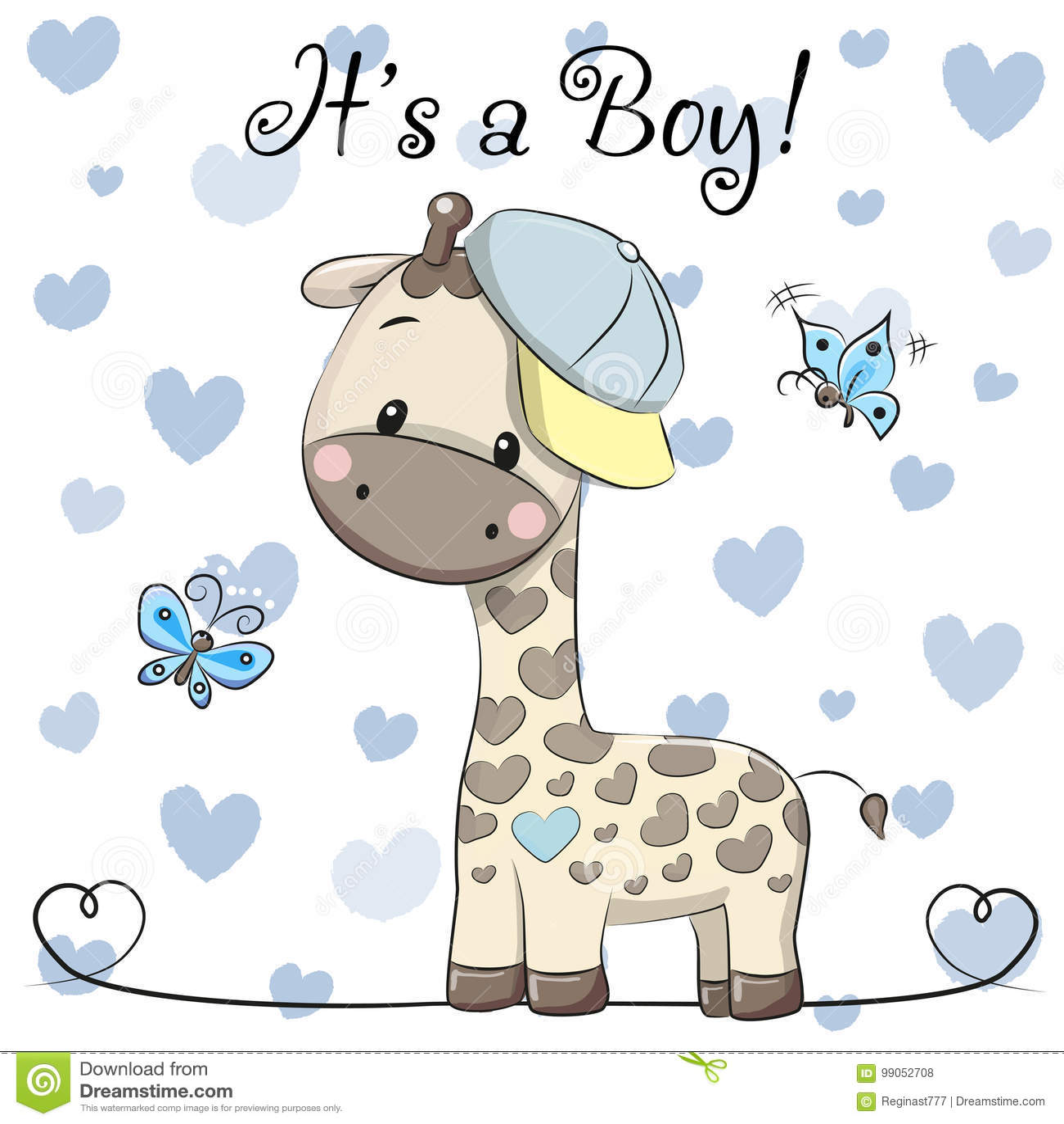 Baby Shower Greeting Card with cute Giraffe boy