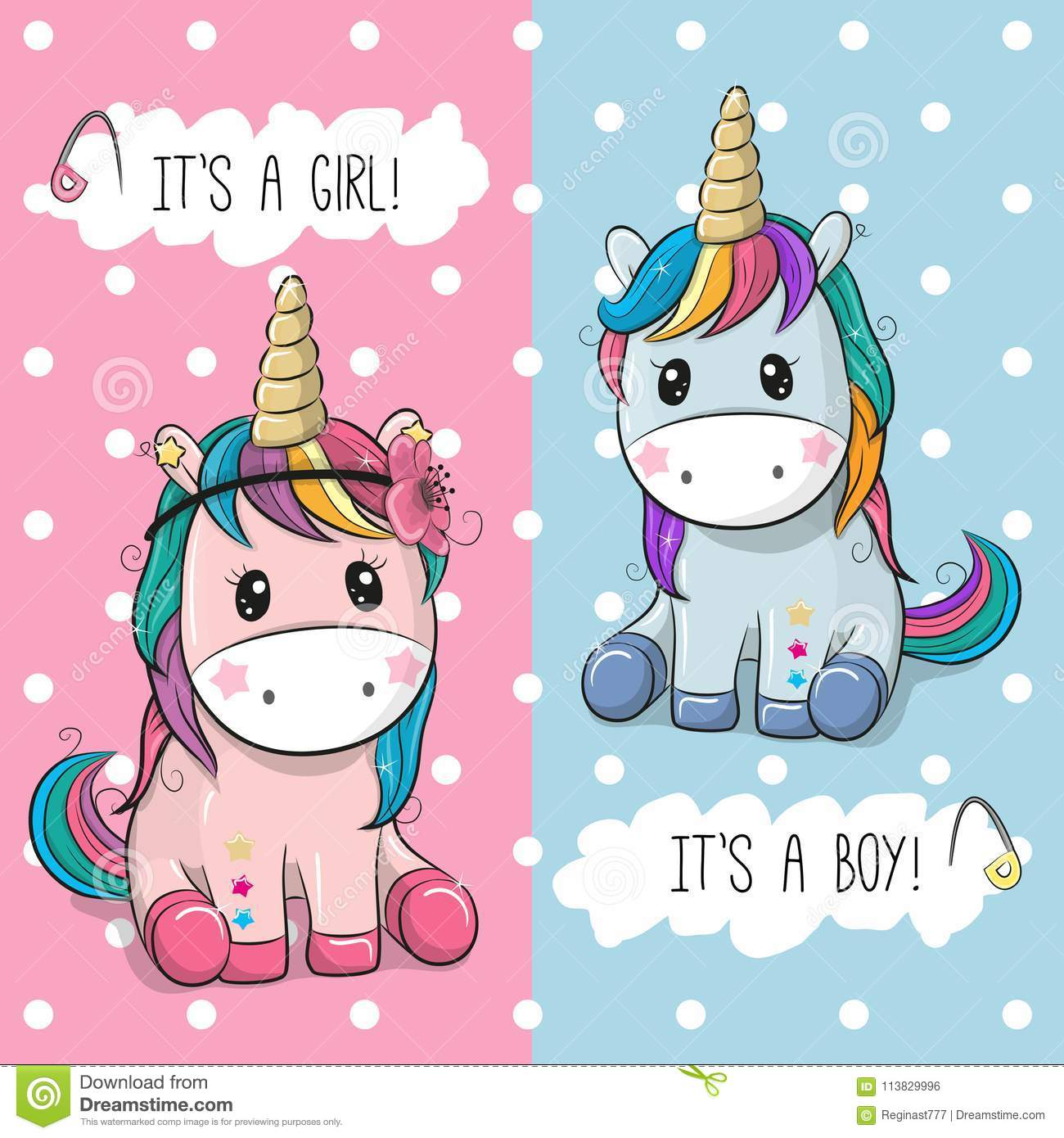 Baby Shower greeting card with Cute Unicorns