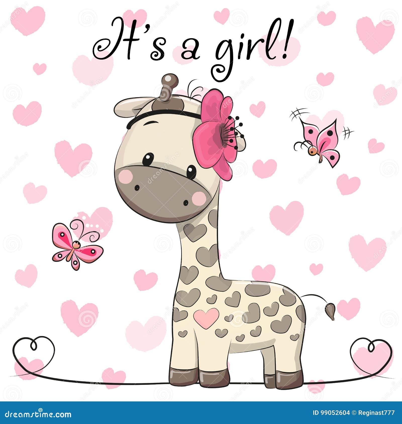 Baby Shower Greeting Card with Giraffe girl