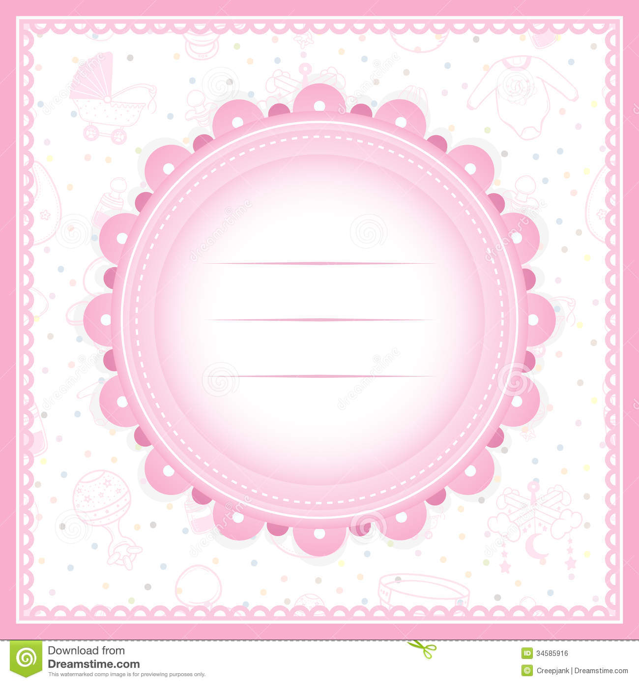 baby background card girl greeting shower