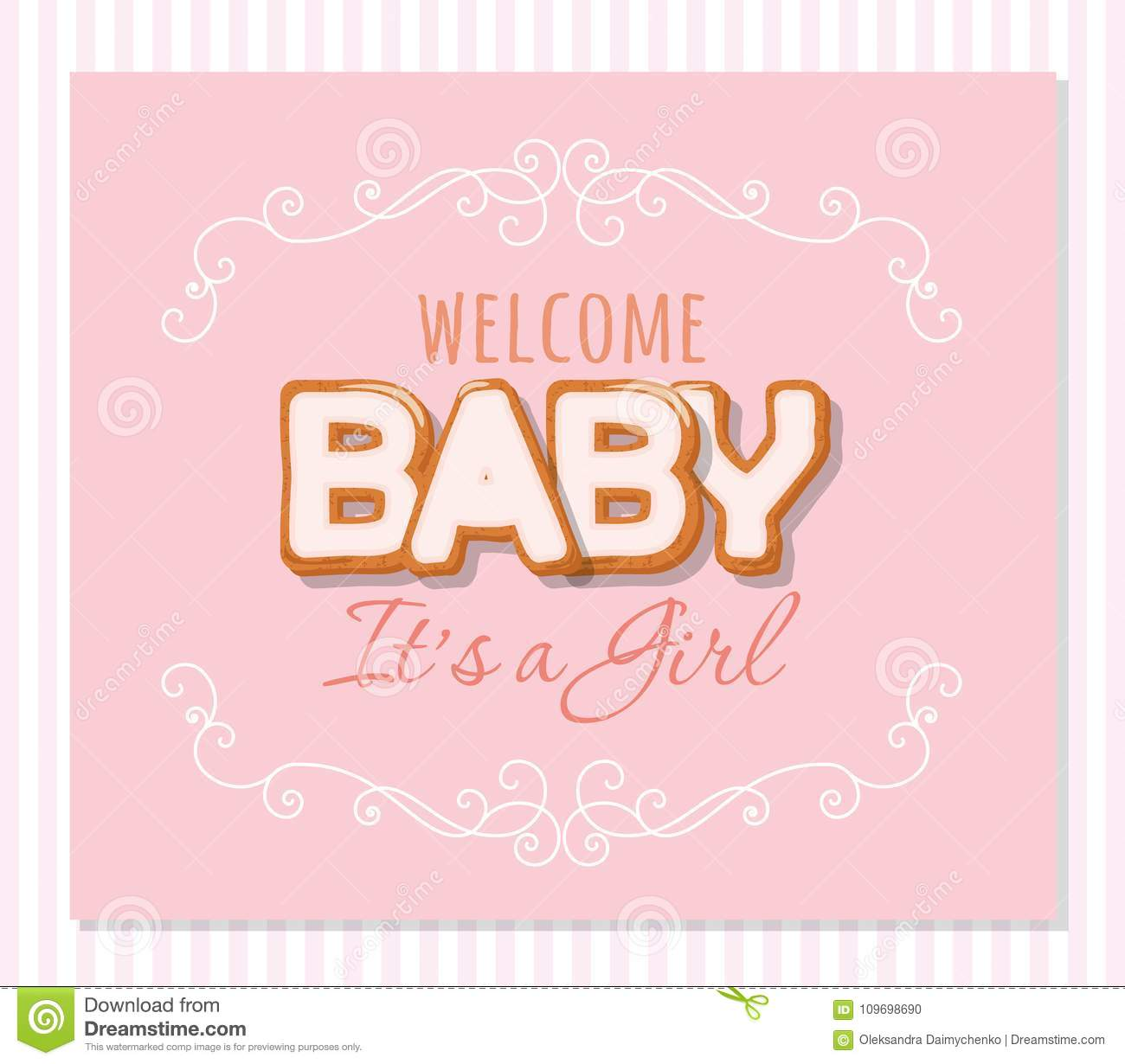 Baby Shower Greeting Card For Girls. Elegant Frame With Sweet ...