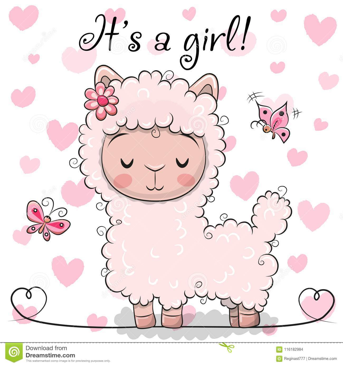 Baby Shower Greeting Card with Alpaca girl
