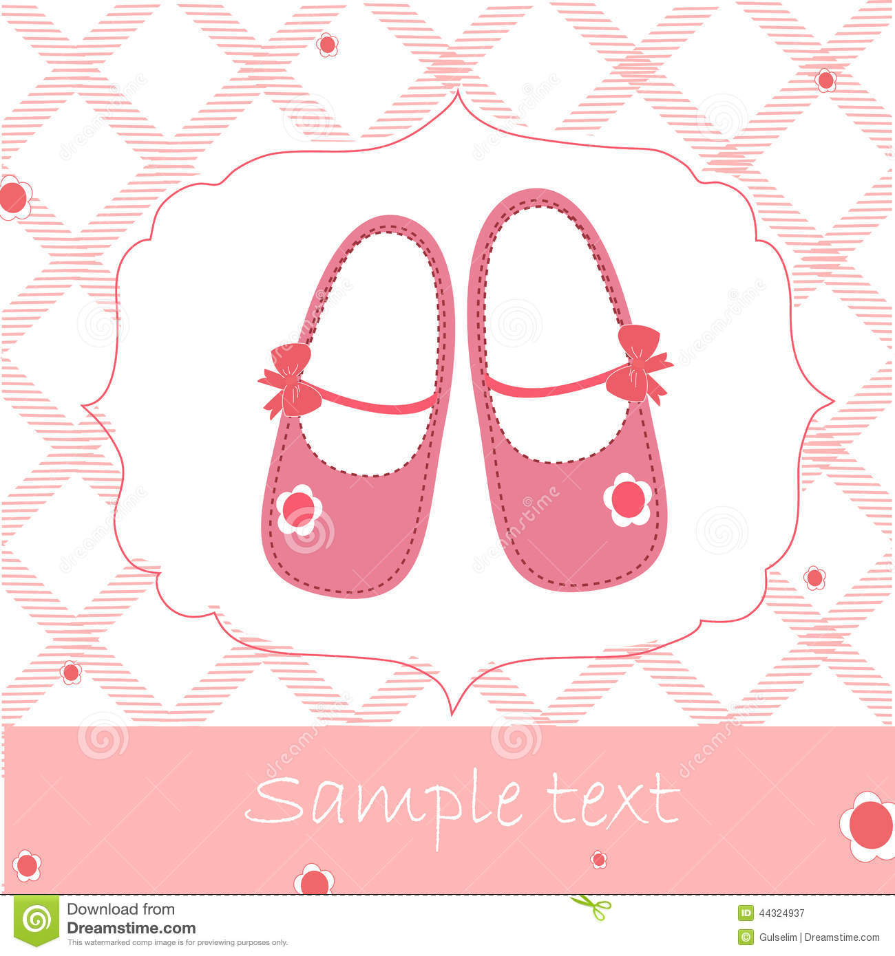 baby shower greeting card with pink shoes stock photo