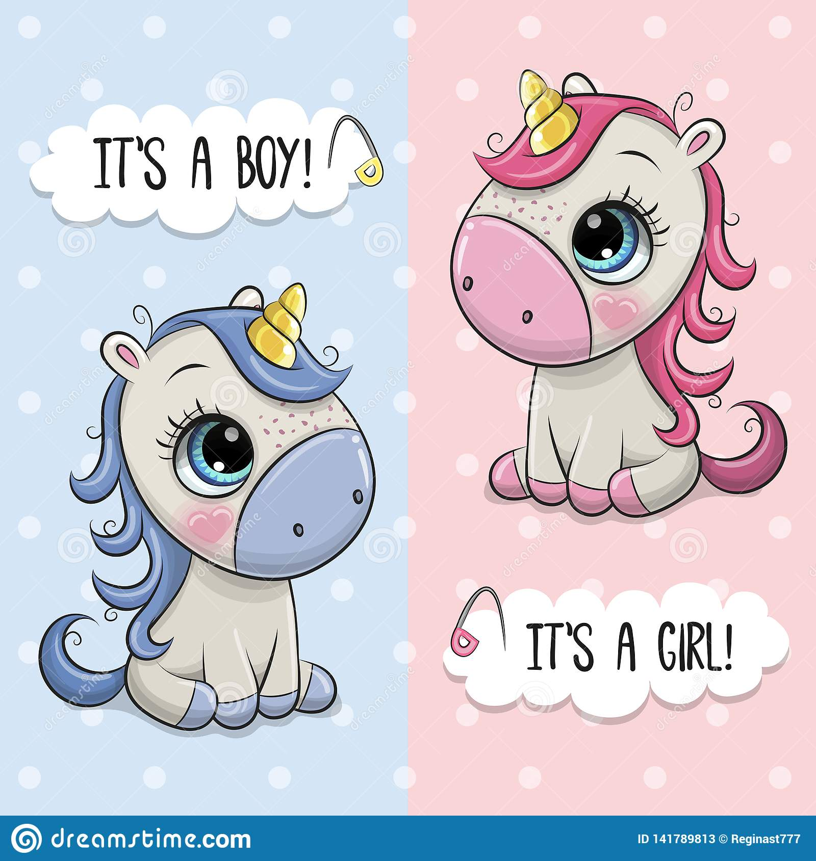 Baby Shower greeting card with Unicorns boy and girl