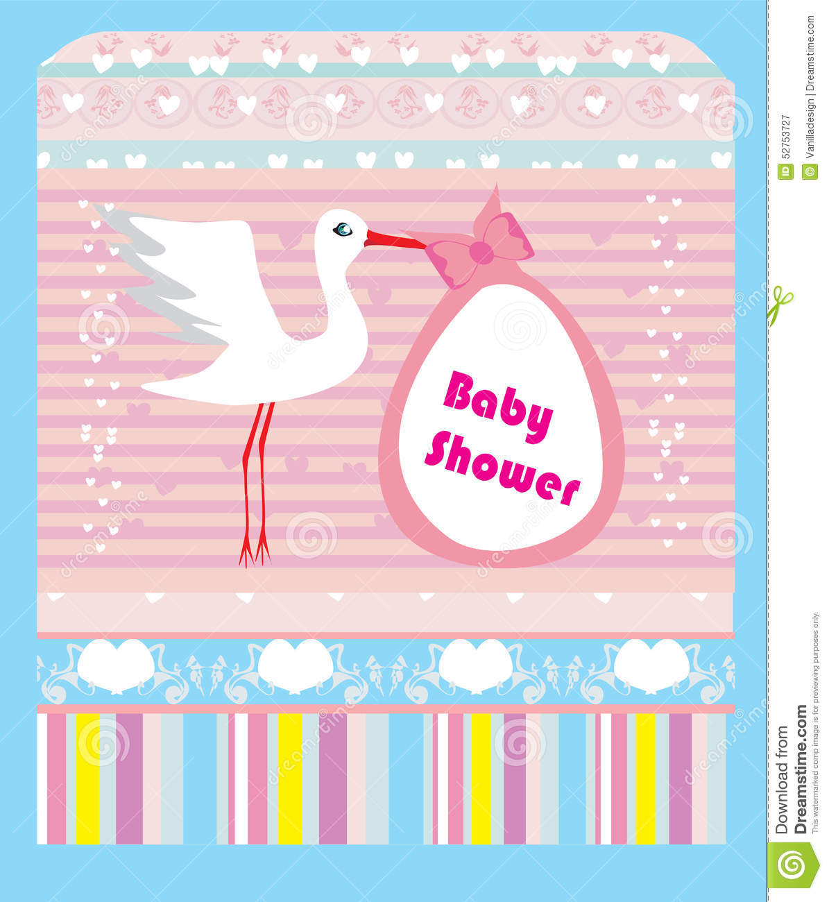 Baby Shower Card Vector ~ Baby shower greeting card stock vector image
