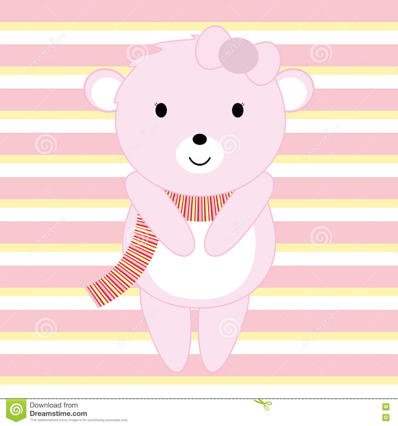 Baby Shower illustration with cute pink baby bear suitable for invitation card, postcard and nursery wall