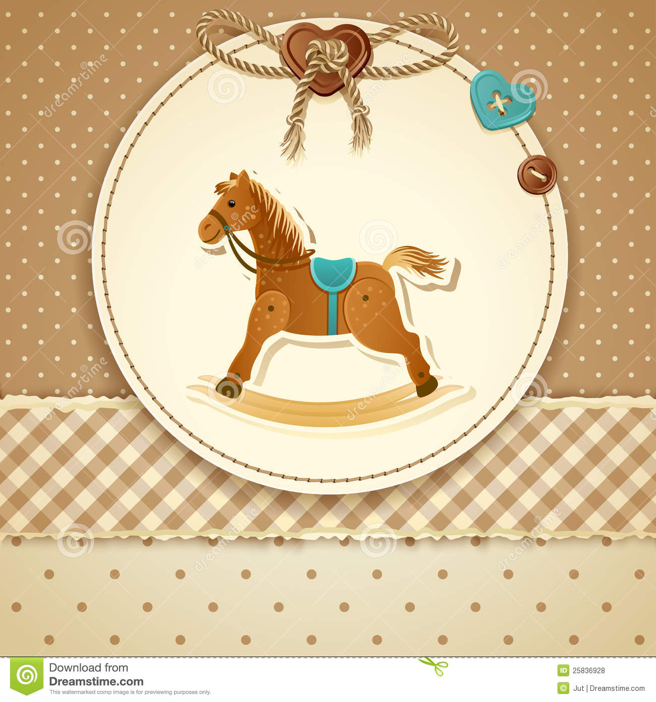 Baby Shower Card, For Baby Boy, With Rocking Horse And Blue-green ...