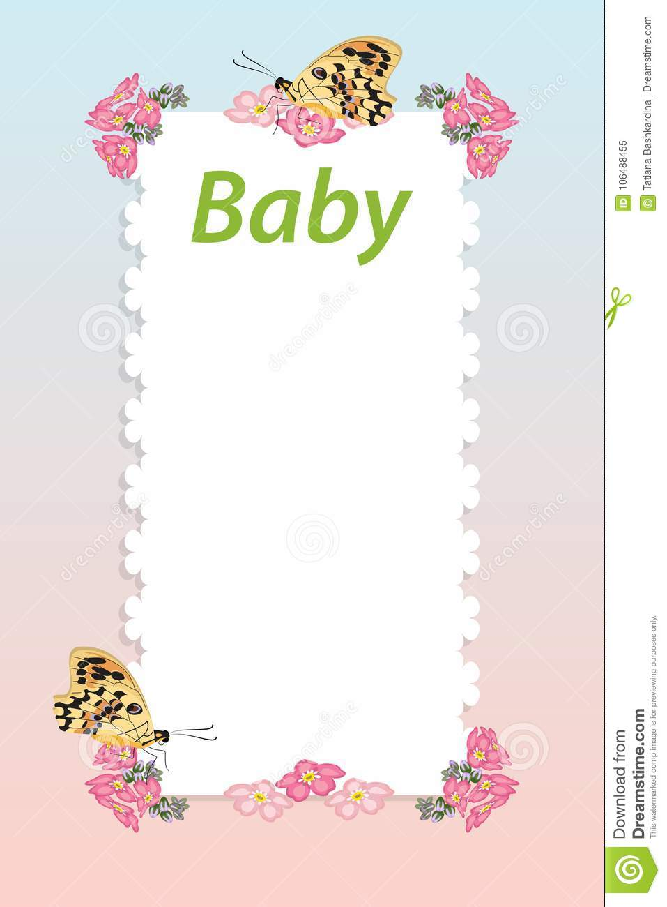 Baby Shower Invitation Arrival Card With Place For Text
