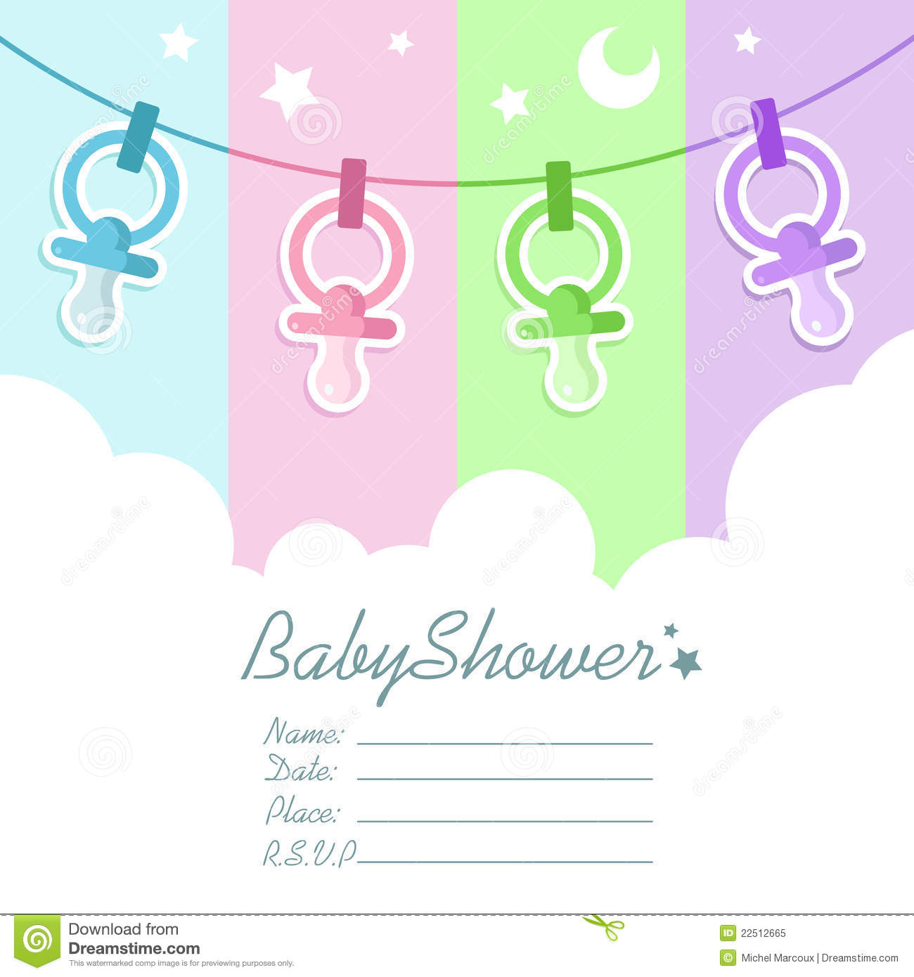 Baby shower invitation card stock vector illustration of moon baby shower invitation card stopboris Image collections