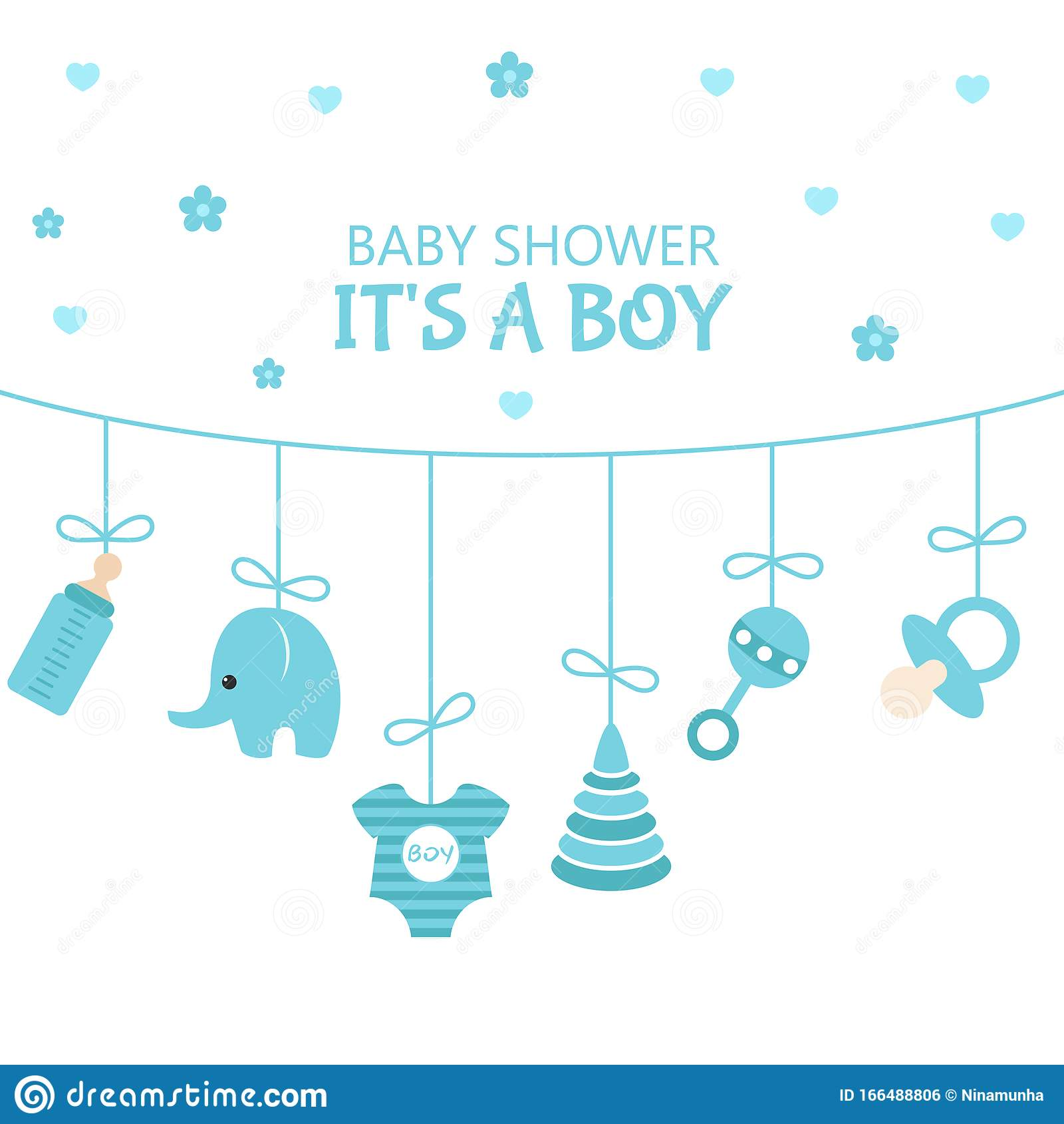 Baby Shower Invitation Card Stock Vector - Illustration of event