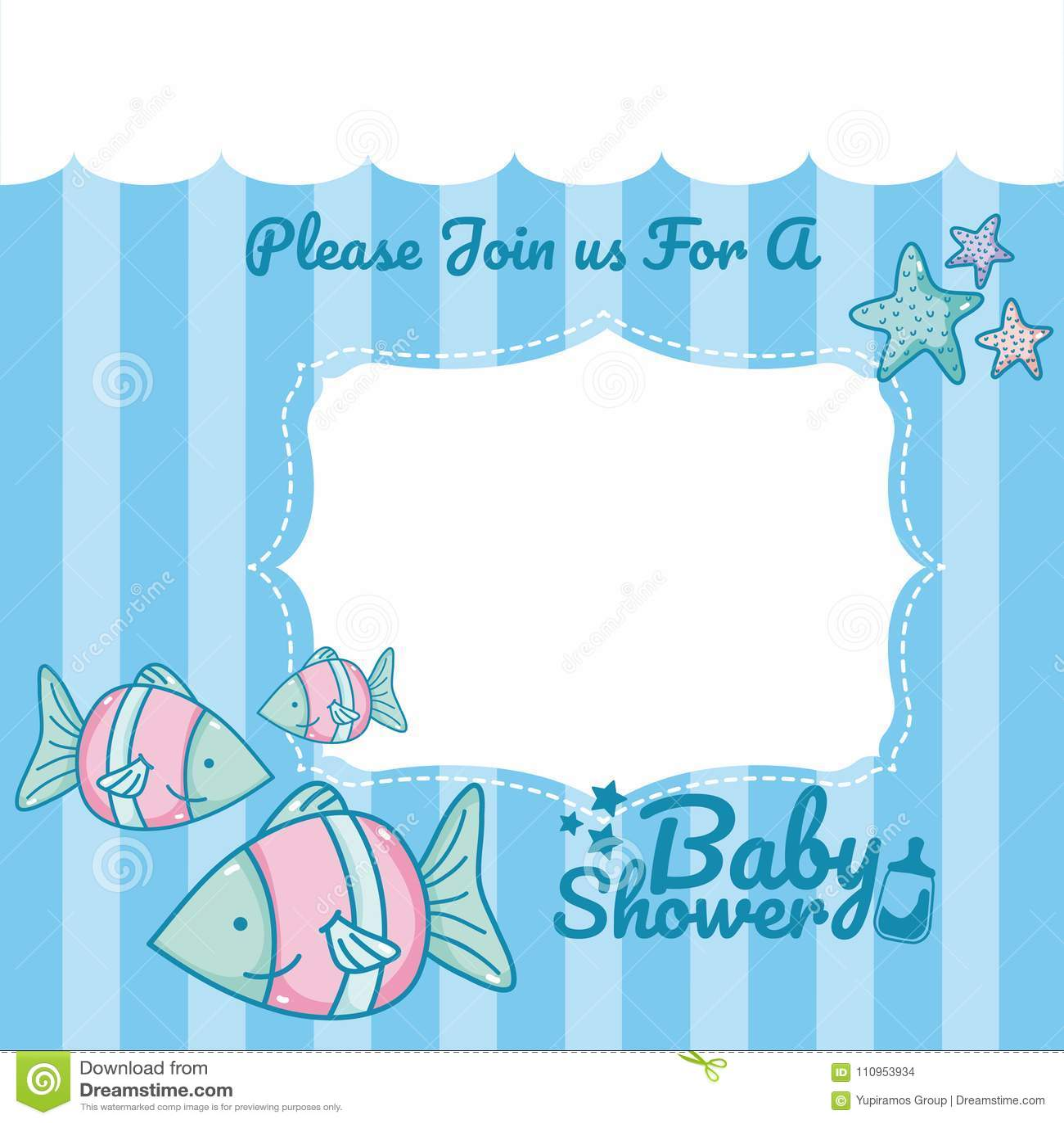 Baby Shower Invitation Card Stock Vector Illustration Of