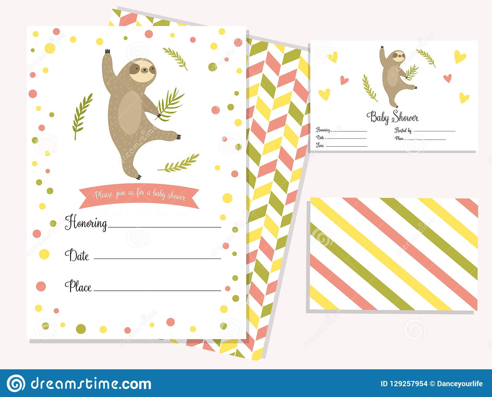 baby shower invitation card with cute sloth stock vector