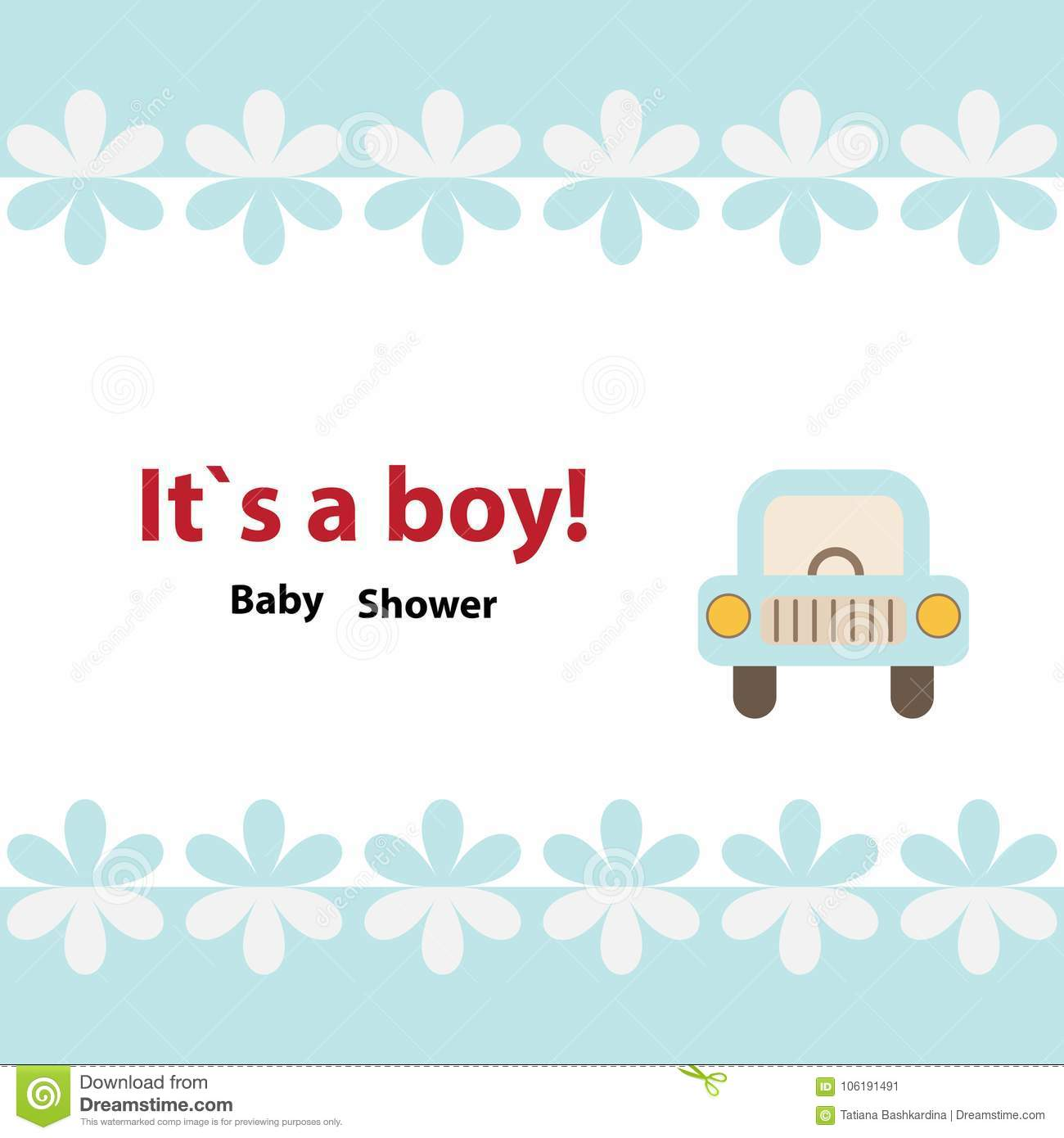 Baby Shower Invitation Card Design With Toy Car Stock Vector