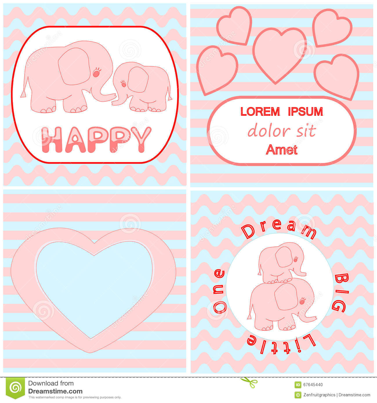 Baby shower invitation card set including Cartoon pink baby elephant card, Heart and wavy stripes background cards