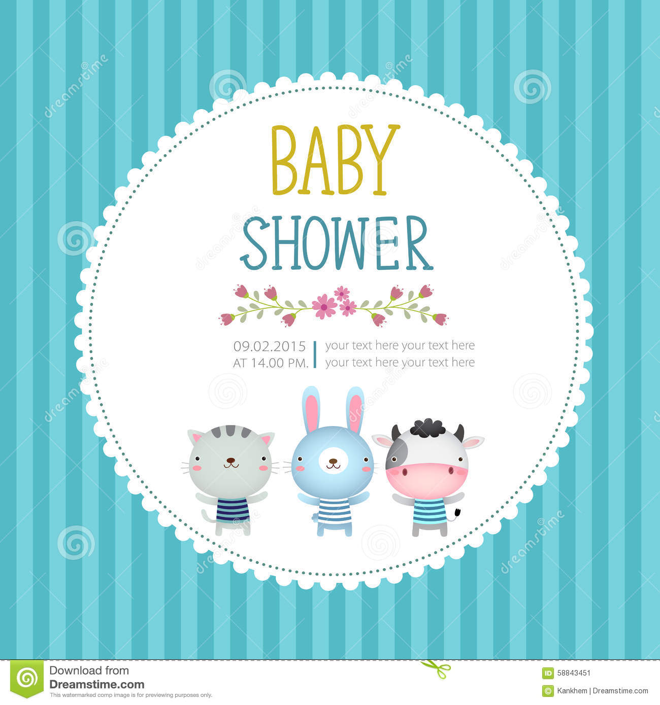 Baby Shower Invitation Card Template On Blue Background Stock Vector - Card template free: invitation card template for baby shower