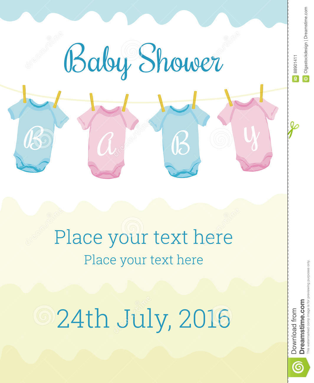 Baby Shower Invitation Card Template Stock Vector Illustration Of