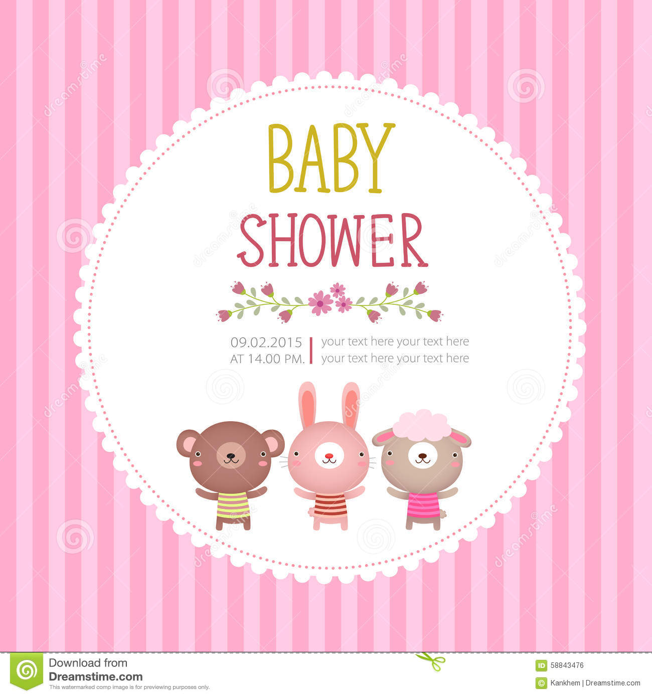 Baby Shower Invitation Card Template On Pink Background Stock Vector ...