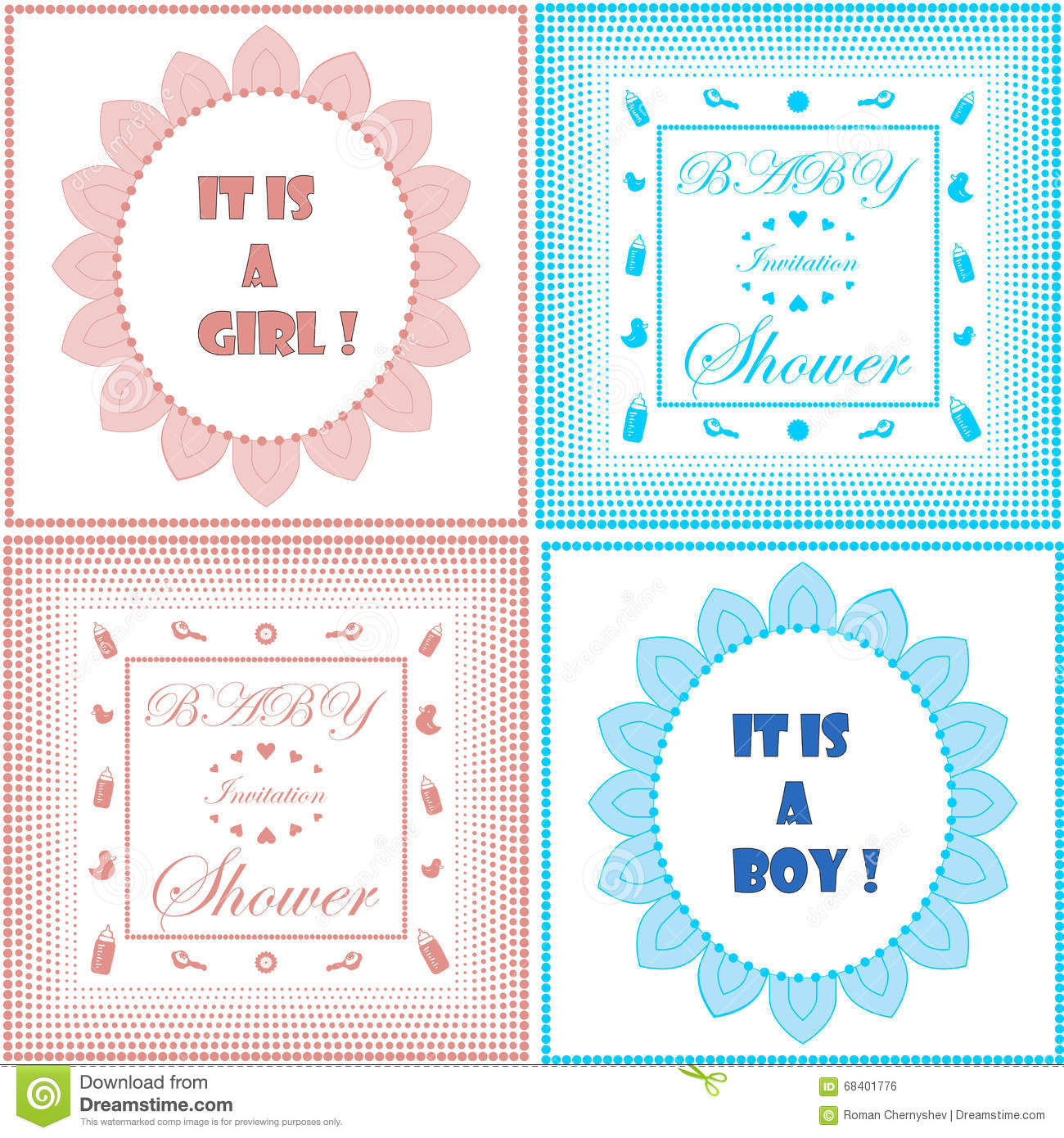 Baby Shower Invitation Card Template Set Boy And Girl Design - Card template free: invitation card template for baby shower