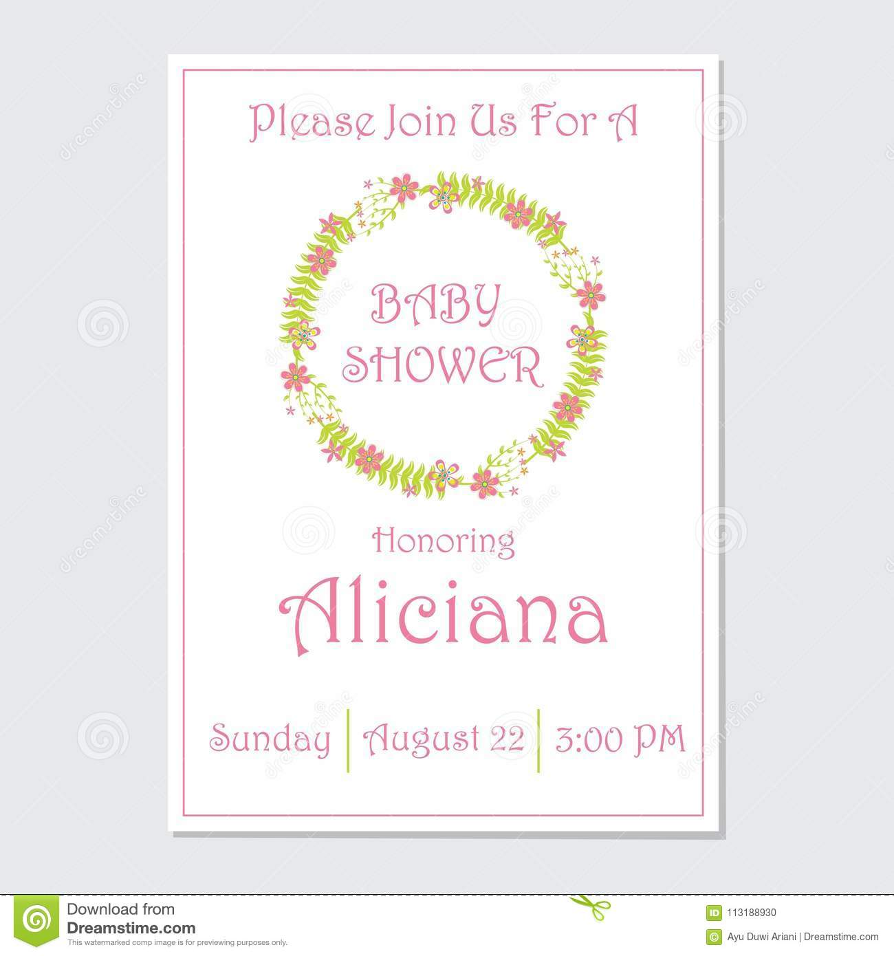 Baby Shower Invitation Card Vector Design Template With Pink Flowers
