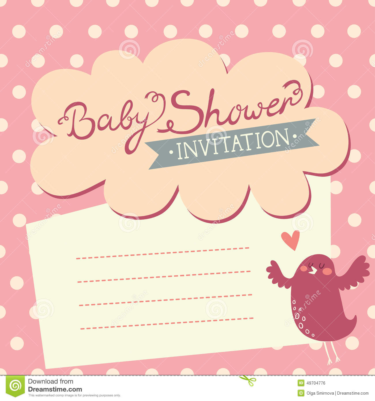 Baby Shower Invitation With Cute Bird Stock Vector - Illustration of ...