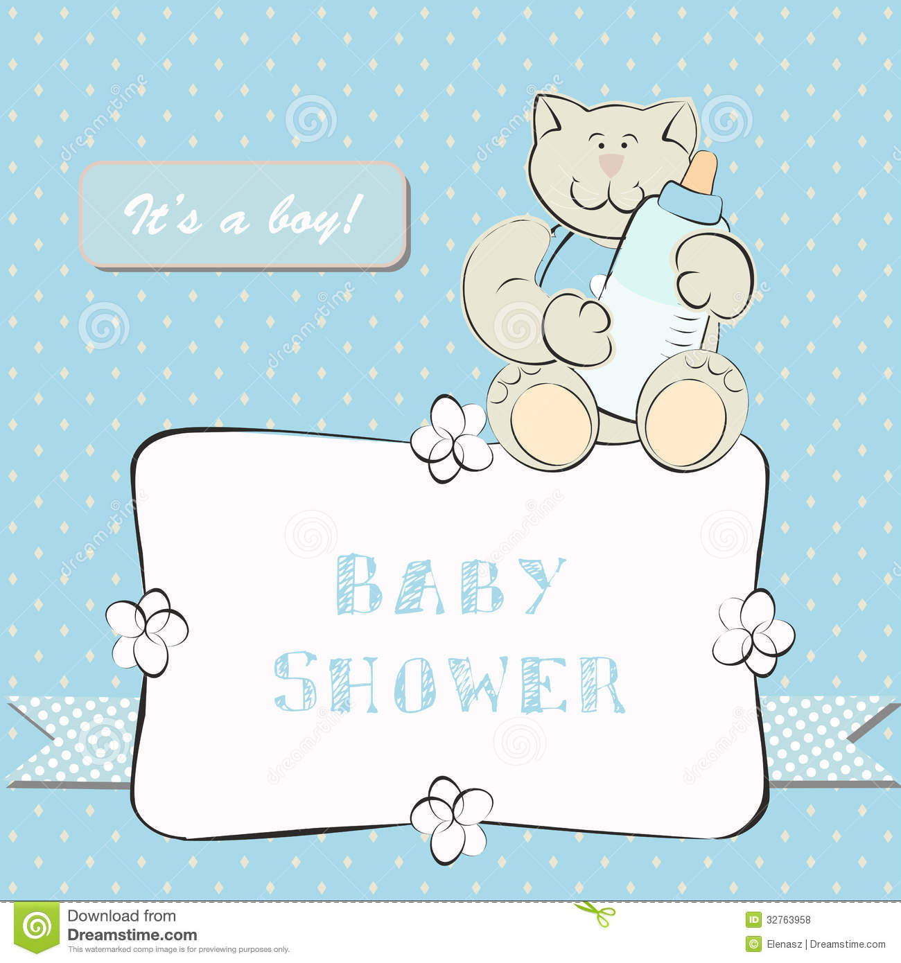 baby shower invitation with dot background stock vector