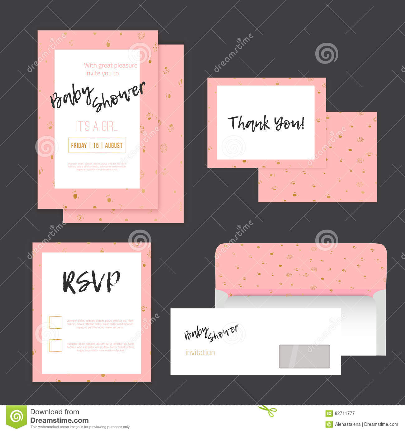 Baby Shower Invitation With Golden Dots On Pink Background With RSVP ...