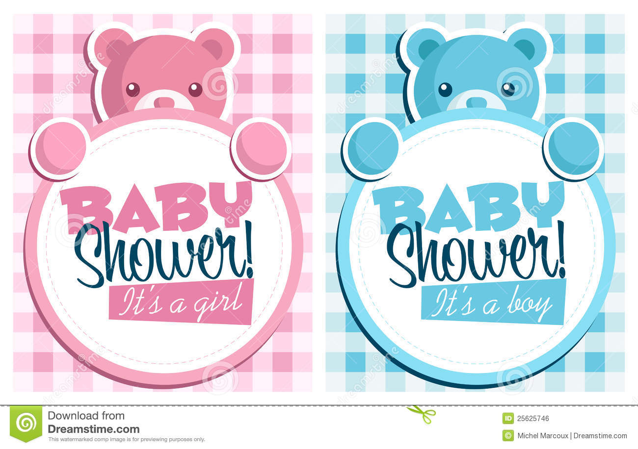 Baby Shower Invitation Greeting Cards Stock Vector - Image ...