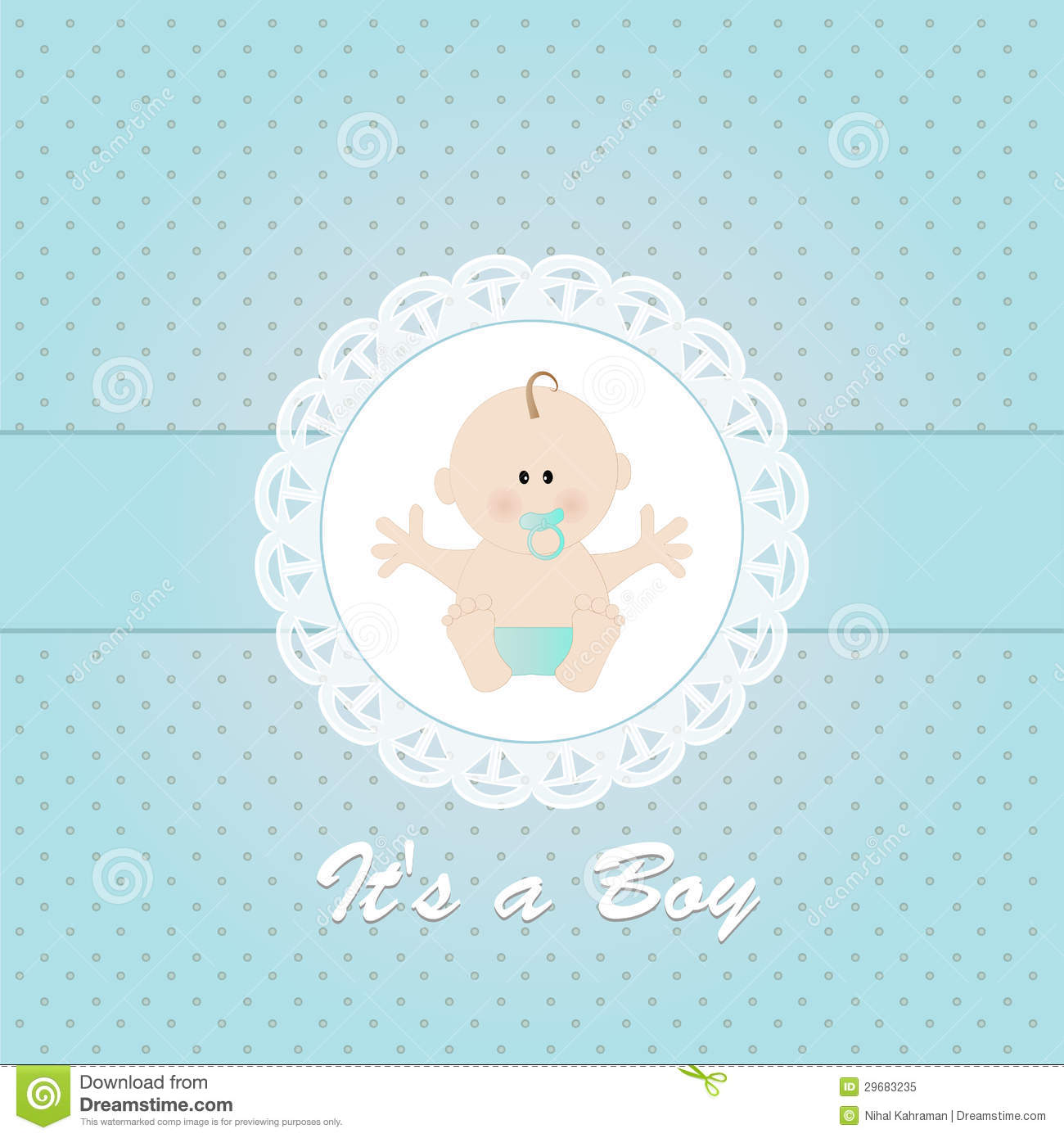Baby Shower Invitation With Newborn Baby Boy Stock Vector