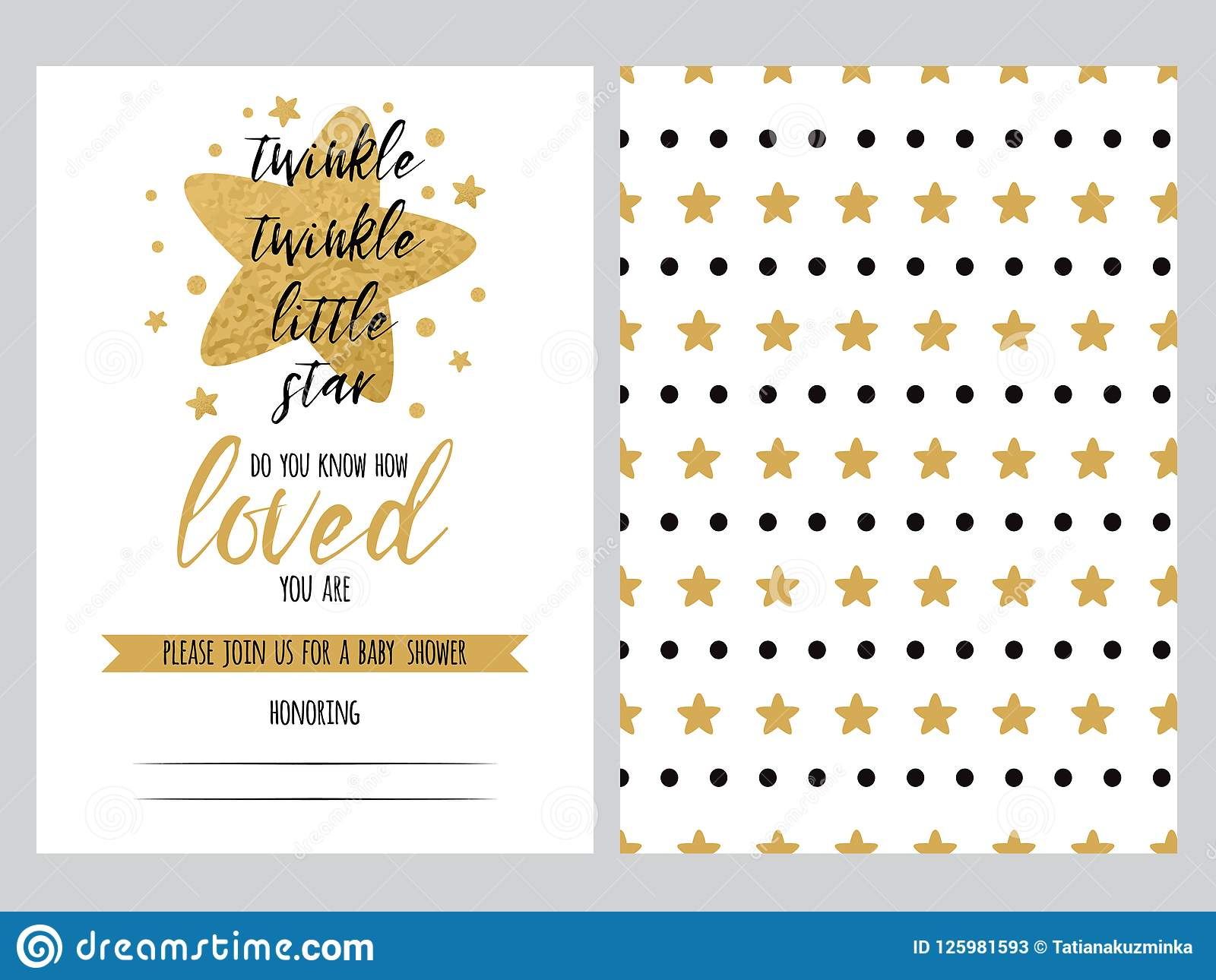 Baby Shower Invitation Template Backgtround With Cute Golden Star