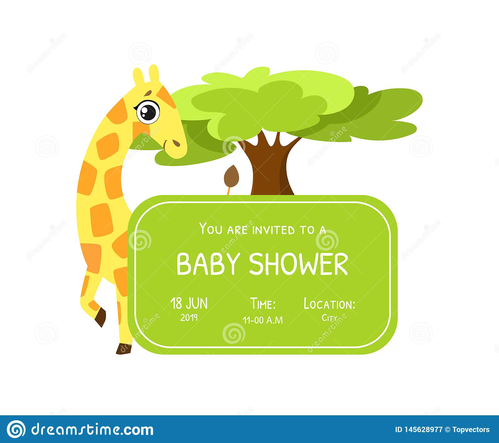 Baby Shower Invitation Template Card With Cute Giraffe And