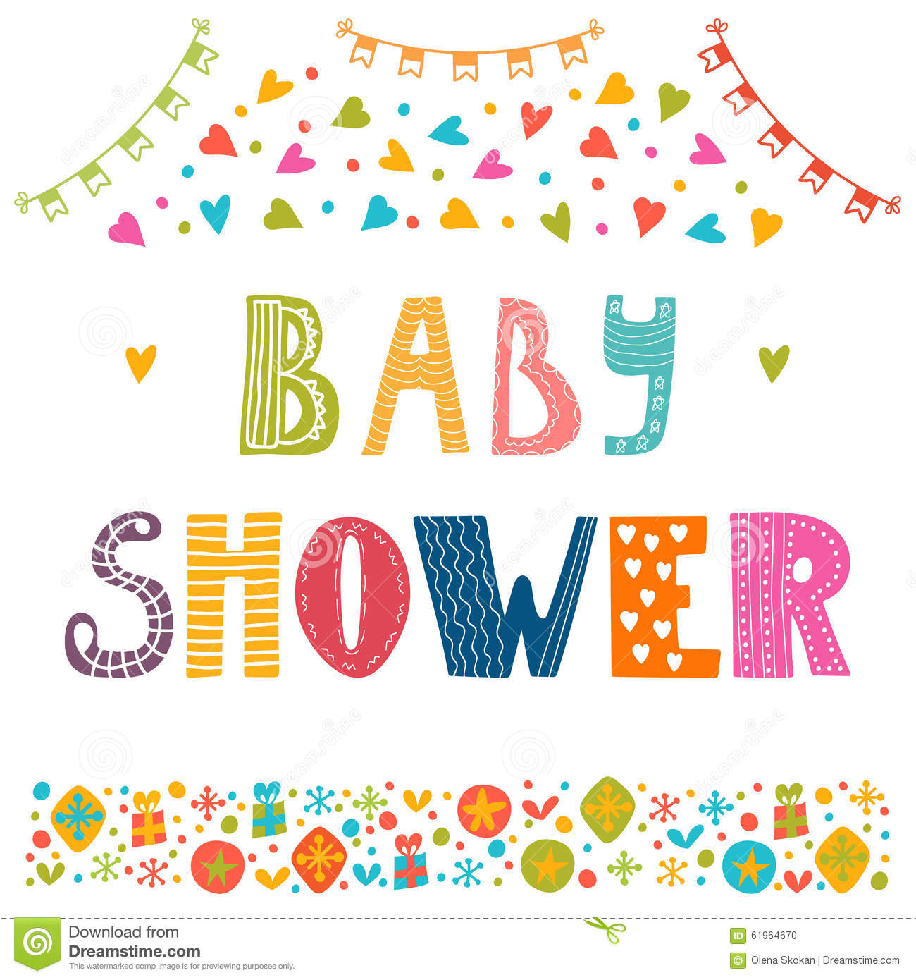 Baby Shower Invitation Template. Cute Postcard Stock Vector ...