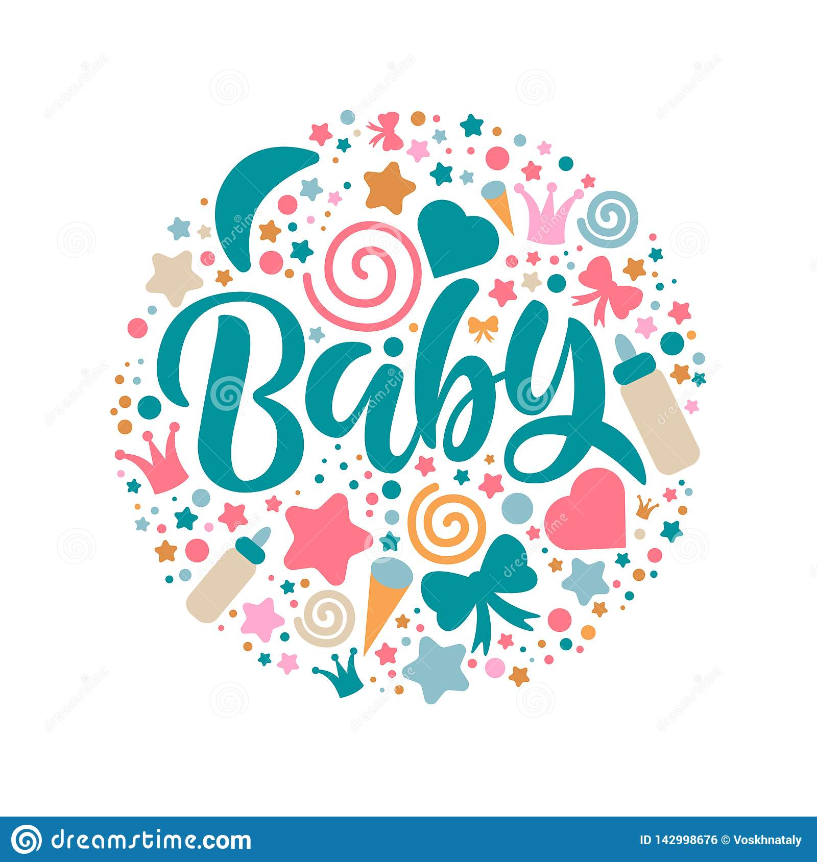 Baby Shower Invitation Template with hand lettering