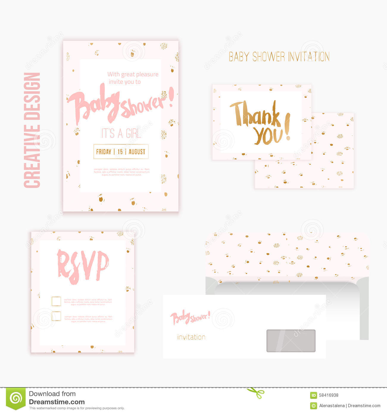 baby shower invitation template illustration with polka dot pattern