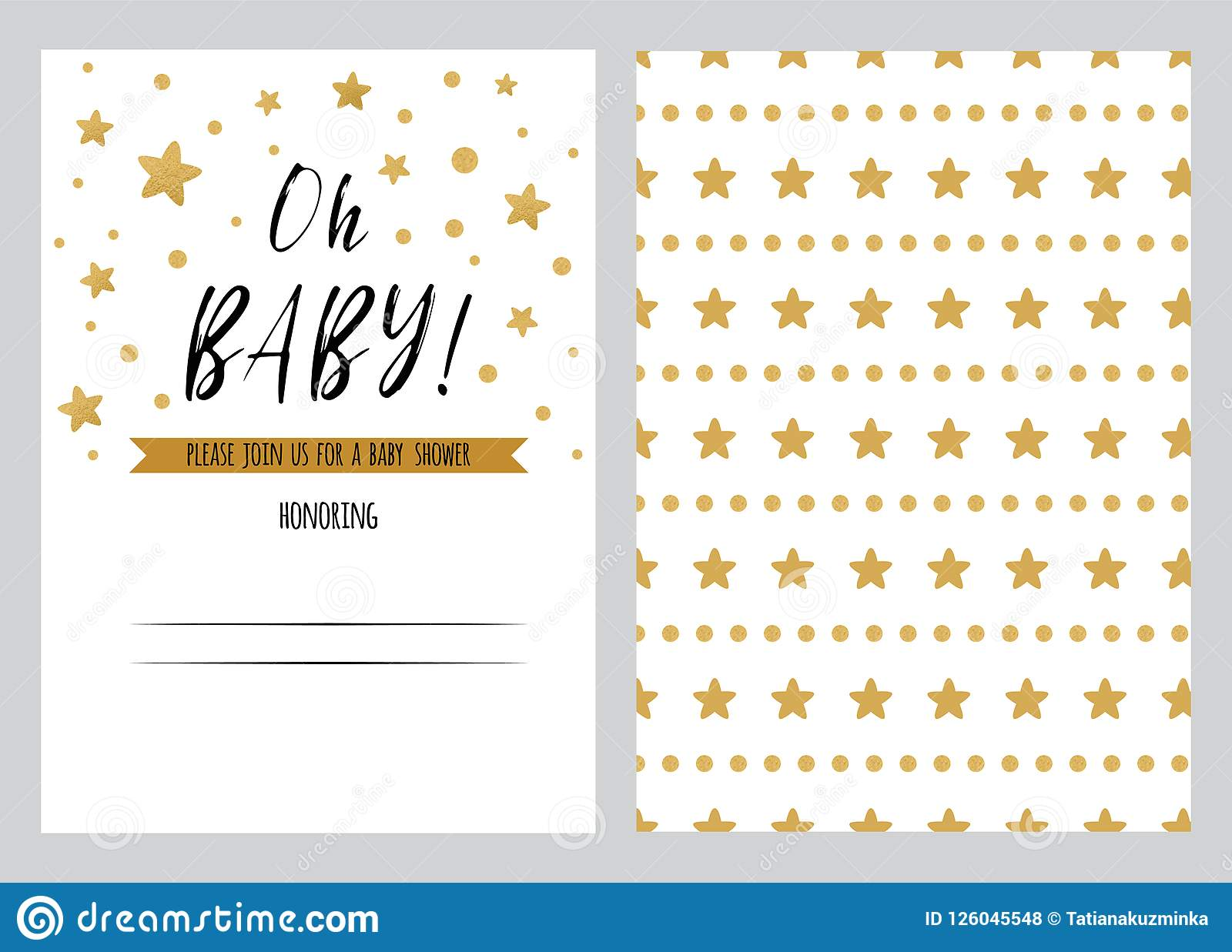 Baby Shower Invitation Template Oh Backgtround With Gold Golden