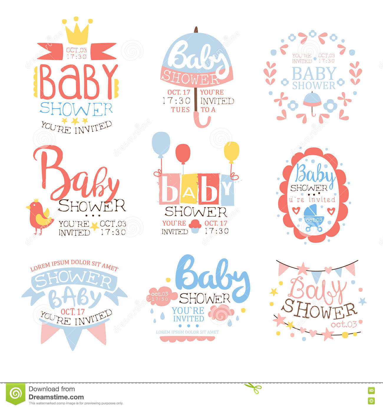 Baby Shower Invitation Template In Pastel Colors Set Of Designs