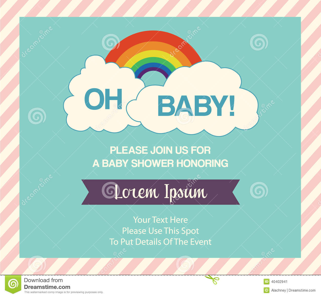 Baby Shower Invitation Template Stock Vector - Illustration of blue ...