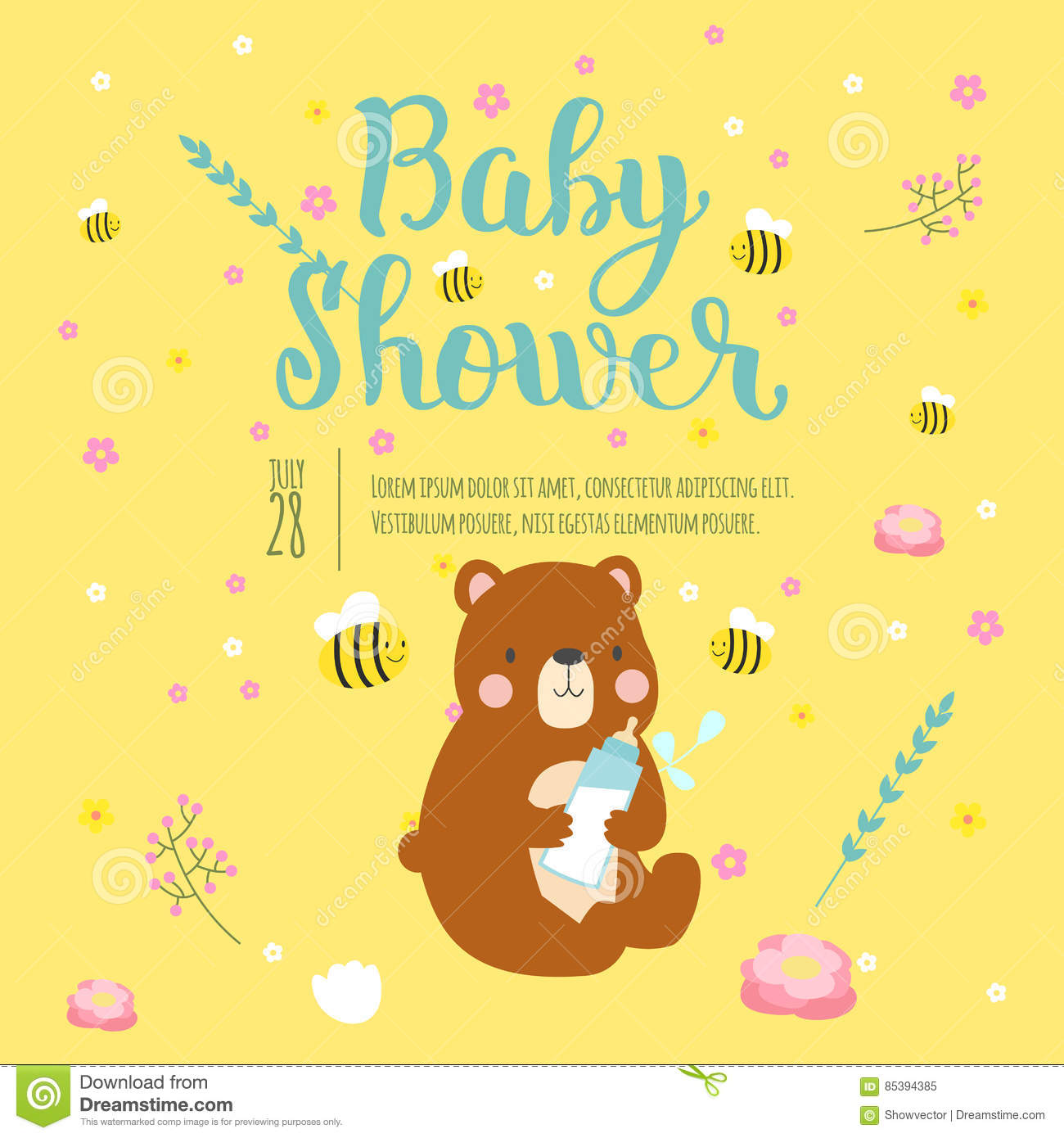 Baby Shower Invitation Vector Card. Stock Vector