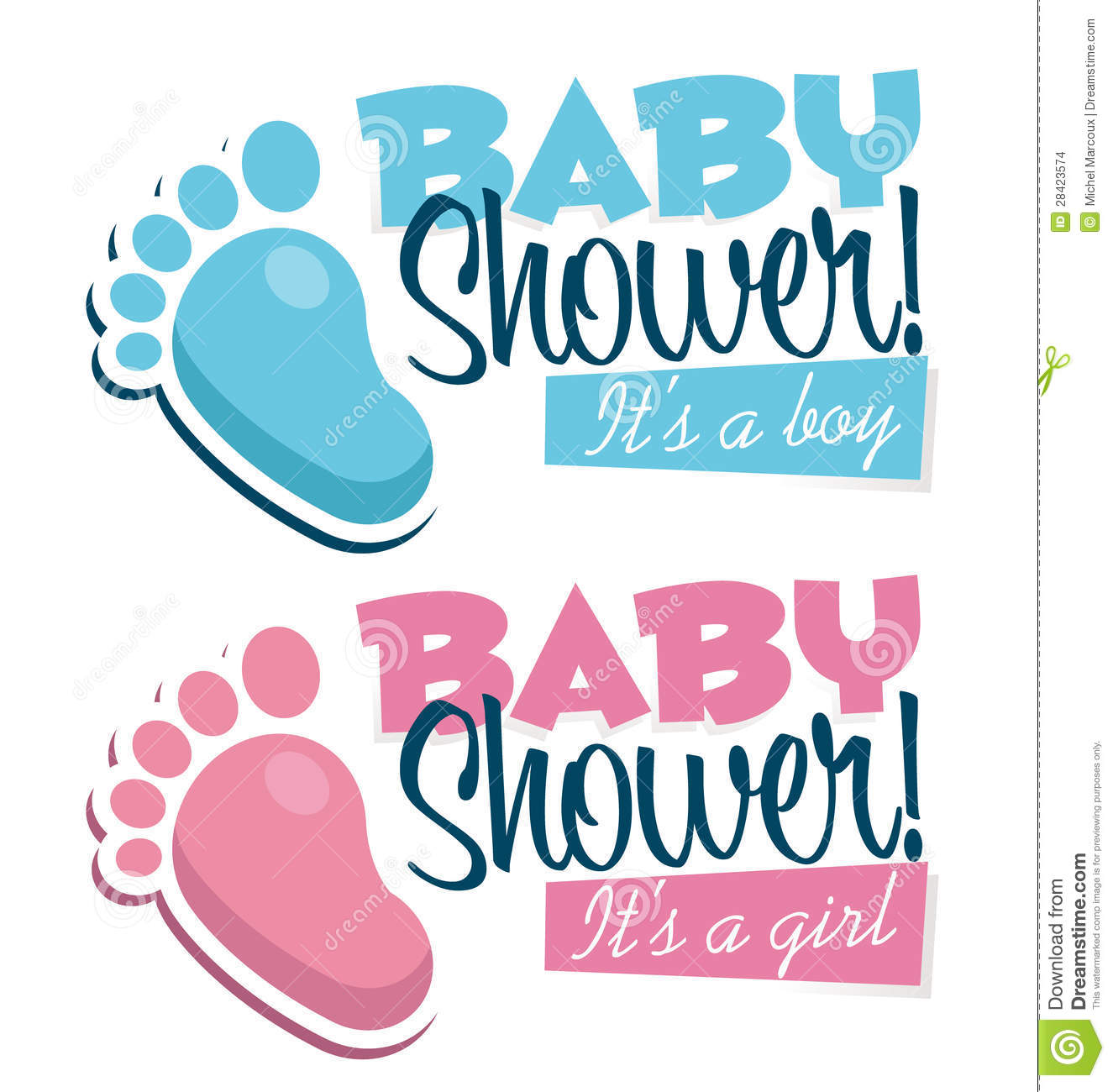 Baby Shower Invitations With Baby Feet Icons Stock Images ...
