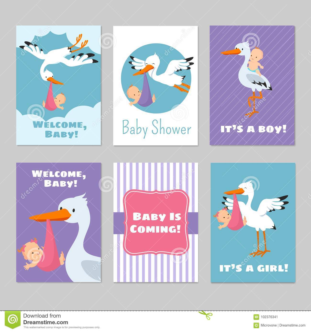 Baby Shower Invitations Vector Cards With Stork And Baby Stock