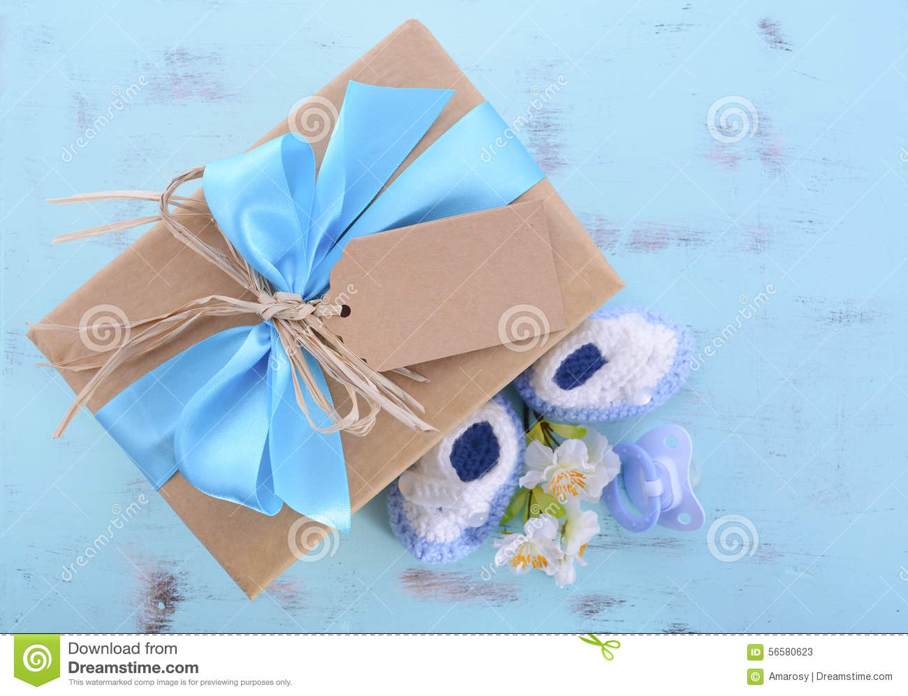 Baby Shower Its A Boy Natural Wrap Gift Stock Photo