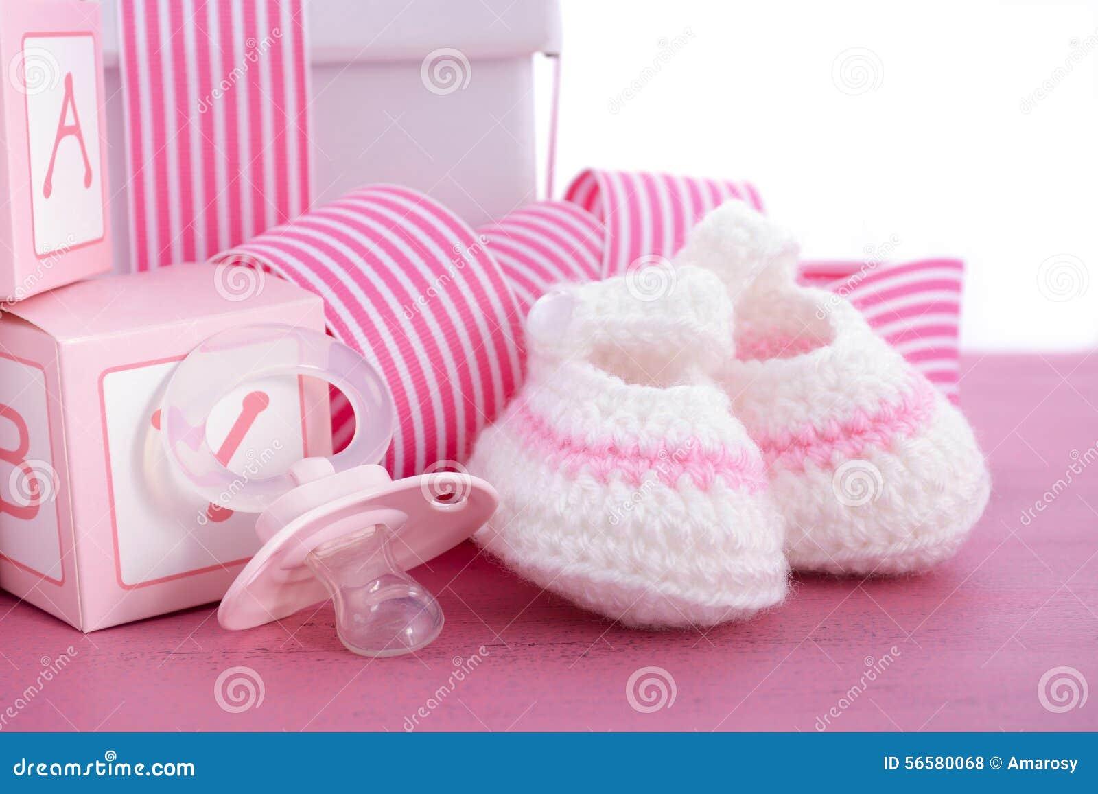 pink pacifier baby girl shower card royaltyfree cartoon