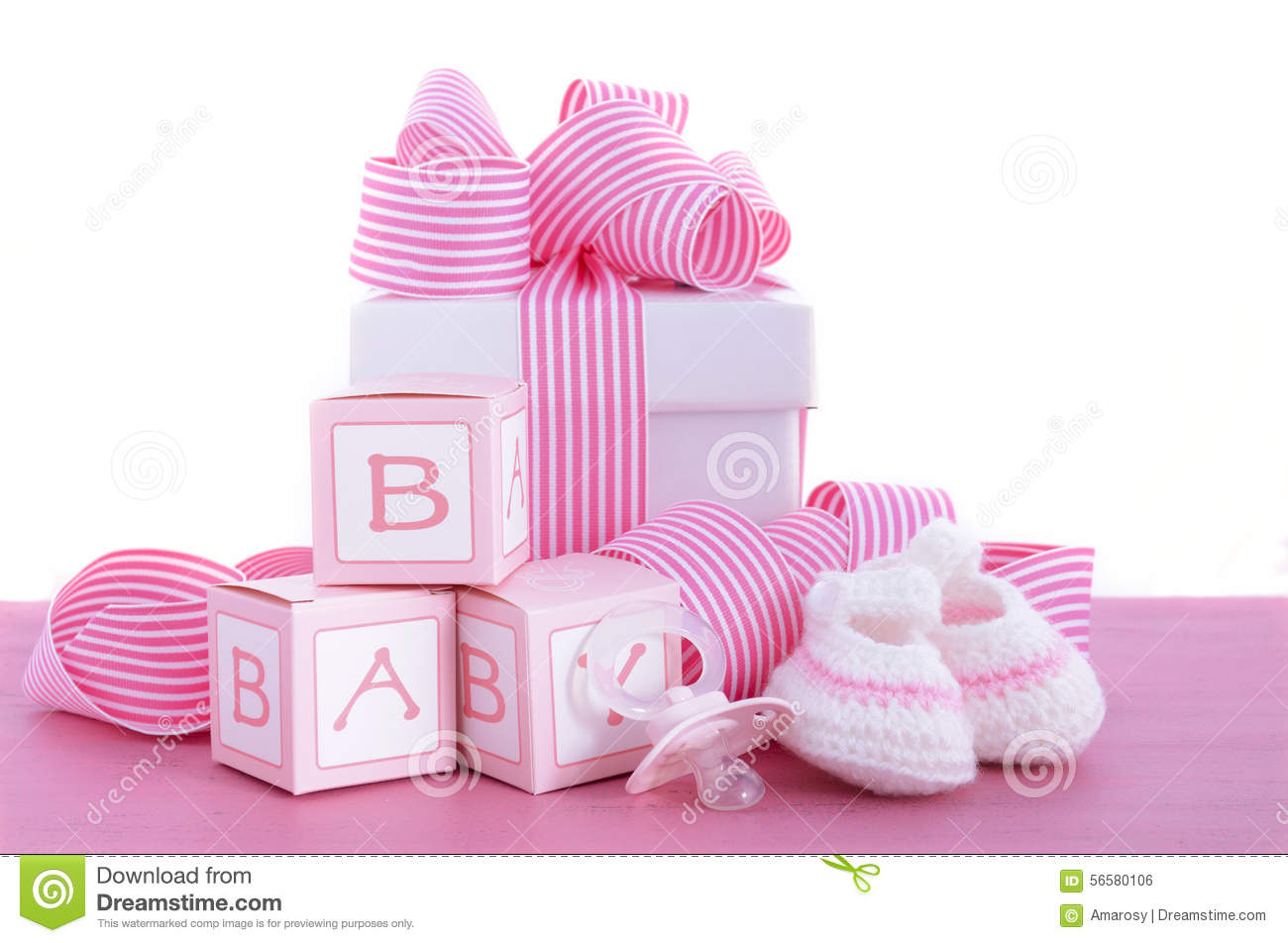 baby shower its a girl pink gift stock photo image 56580106